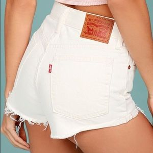 Levi's 501 ripped denim shorts